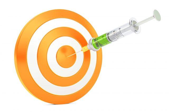 Bullseye target with syringe